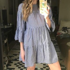Zara Gingham Dress Size Medium; Bell Sleeve